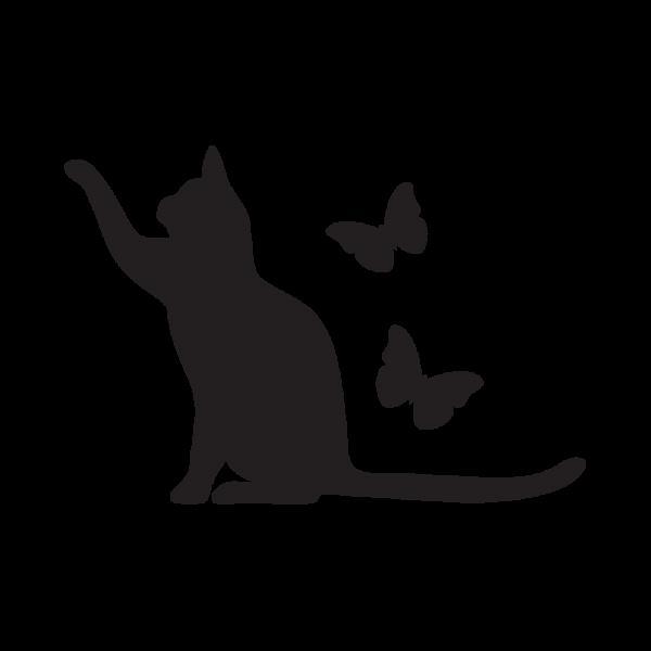 Стикер за кола Коте с пеперуди