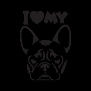 Стикер за кола - I love my bulldog