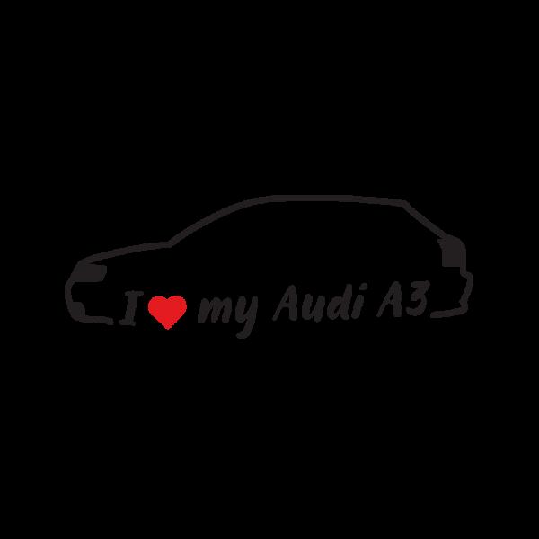 Стикер за кола - I Love my Audi A3