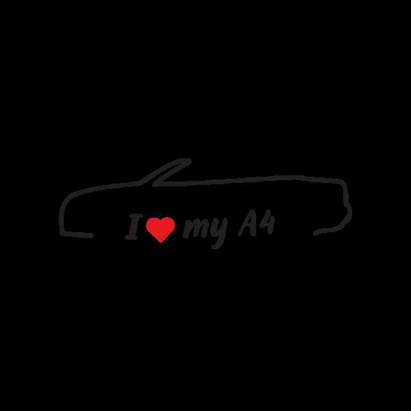 Стикер за кола - I love my Audi A4