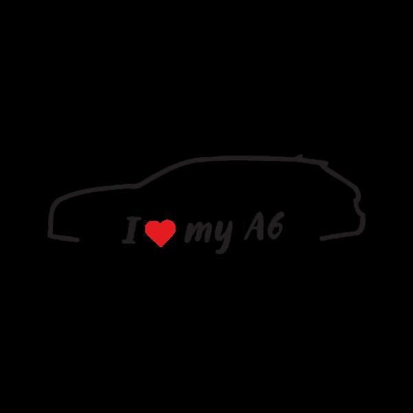 Стикер за кола - I love my Audi A6 - Комби