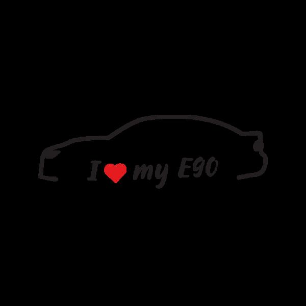 Стикер за кола - I love my BMW e90