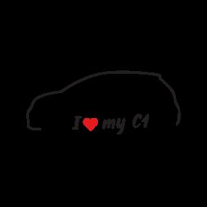 Стикер за кола - I love my Citroen C1
