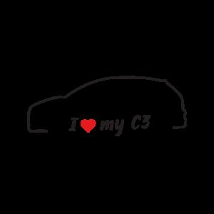 Стикер за кола - I love my Citroen C3