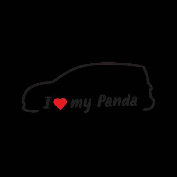 Стикер за кола - I love my Fiat Panda 3