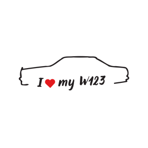 Стикер за кола - I Love my Mercedes W123