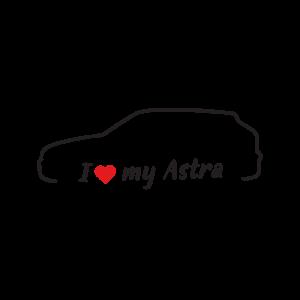 Стикер за кола - I love my Opel Astra F