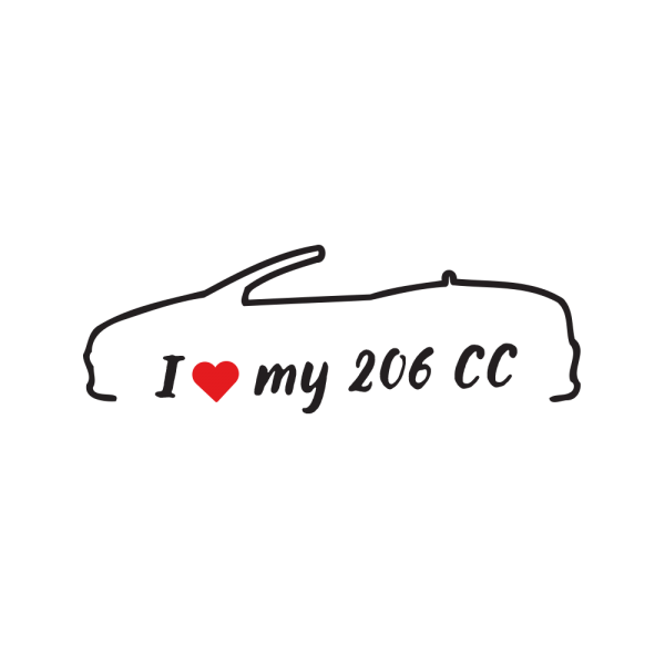 Стикер за кола - I love my Peugeot 206 CC