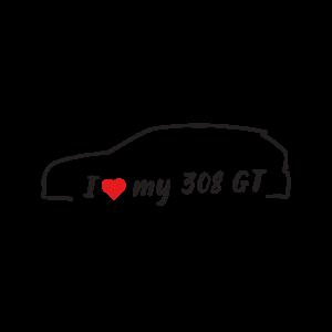 Стикер за кола - I love my Peugeot 308 GT