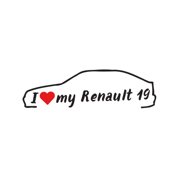 Стикер за кола - I love my Renault 19