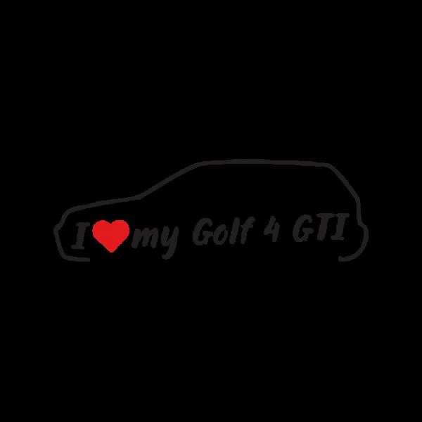 Стикер за кола - I love my vw Golf 4 GTI