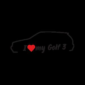 Стикер за кола - I love my VW Golf 3