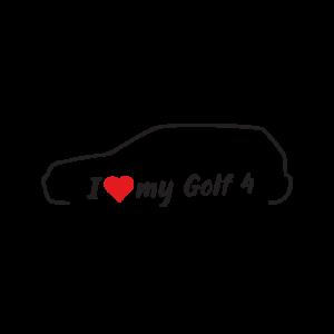 Стикер за кола - I love my VW Golf 4