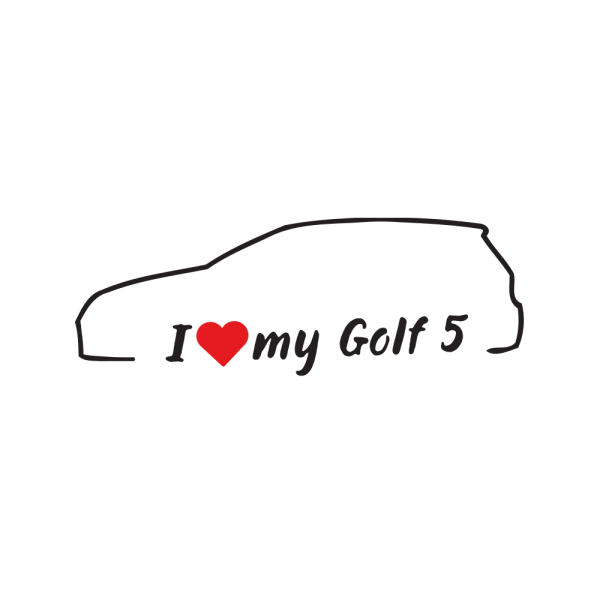 Стикер за кола - I love my VW Golf 5