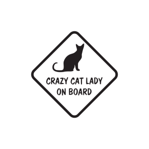 Стикер за кола - Crazy Cat Lady On Board